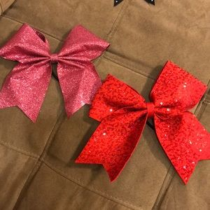 Red and pink sparkle hair cheer bows